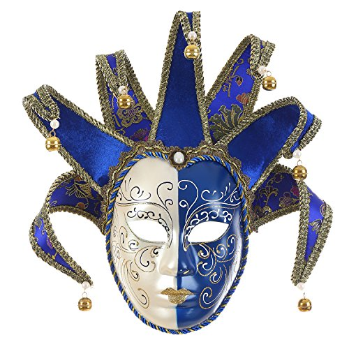 che Jester Maske Masquerade blau weiß Bell Joker Wall Dekorative Art Collection ()
