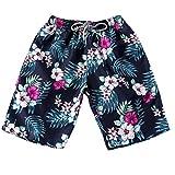 SHOBDW Sommer Frauen & Männer Paare Kleidung Strand Floral Bohe Badeshorts Schnüren Kurze Hosen (XXXXXXL, Blau-1)