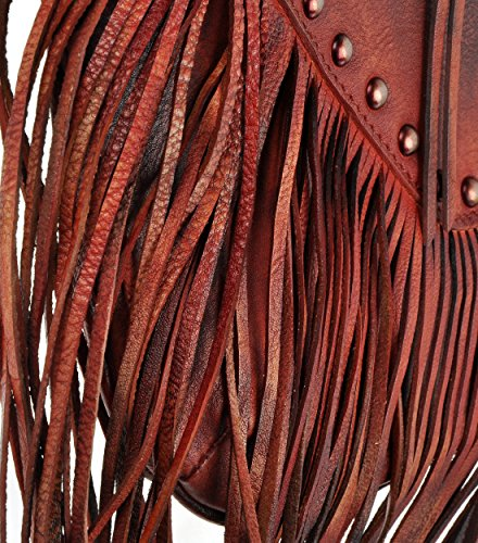 Borsa Fatta a Mano Dip-Dye Pelle Frange Boemia Nappa che Attraversa il Corpo da Donna (Marrone) Red