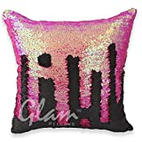 #8: FREE DELIVERY - GrabClassy- Genie Cushion Cover-Pink/Black 16 x 16 inches Mermaid Pillow / Glam Pillow / Sequin cushion / best gift / Pillow not Included