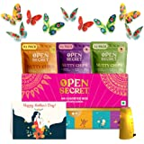 Open Secret Mother's Day Hamper-12 Chocolate dryfruit Snack Cookies in Celebration Gift Box + 6 Packs of India's First Nutty