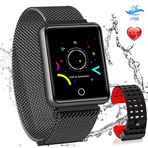 AGPTEK Bluetooth Smartwatch Fitness Uhr, Intelligente Armbanduhr Fitness Tracker, Smart Watch Sport Uhr mit Schrittzähler Schlaftracker Romte Capture Kompatibel Android Smartphone, Schwarz - Fitness-bluetooth-uhr