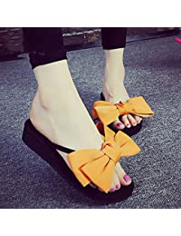 Sandalias / deslizadores de las mujeres de los deslizadores de la manera del verano (rojo / negro / azul marino / color de rosa / amarillo / azul claro) ( Color : Amarillo , Tamaño : EU36/UK4/CN36 )