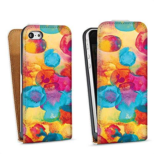 Apple iPhone 5s Housse Étui Protection Coque Peinture à l'eau Fleurs Fleurs Sac Downflip blanc