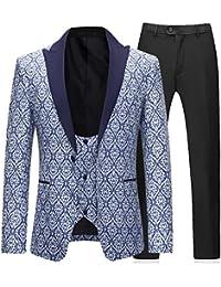 d00e70fb150a Costume 3 pièces Hommes D affaires Impression Slim Fit Tuxedo Veste Gilet  et Pantalons Mariage