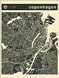 Posterlounge Forex-Platte 100 x 130 cm: Kopenhagen Stadtplan von Jazzberry Blue