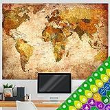 murando - Carte du monde design XXL - recto verso -140x100 cm - recto verso&plastifiée de deux côtés-poster carte du monde&kit d'autocollants k-A-0360-af-a