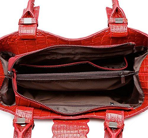 """Xinmaoyuan Borse donna modello coccodrillo Vacchetta Borsette di """" commuters """" Maniglia Bag,Nero Rosso"""