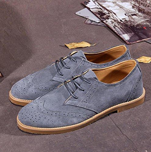Heart&M casual in pelle camoscio nabuk uomini scarpe skater deep gray