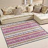 Domoko bunt gestreift Azteken Tribal Ethnic Bereich Teppich Teppiche Matte für Wohnzimmer Schlafzimmer, Textil, Mehrfarbig, 160cm x 122cm(5.3 x 4 feet)