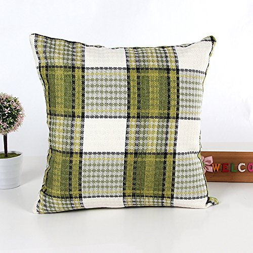 Gemini_mall® Classic Green Tartan Check Cushion Cover Square Pillow Case 45cm x 45cm