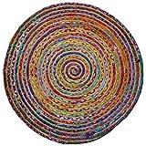 The Indian Arts Fair Trade rund Multi Farbe Baumwolle/Jute geflochten Teppich recycelten Materialien, Textil, Multi, 120cm Diameter