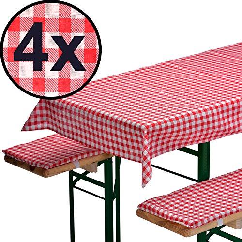 4x AUFLAGENSET FÜR BIERZELTGARNITUR in rot: 1 Tischdecke 240 x 70 cm + 2 gepolsterte...
