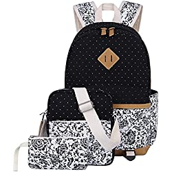 Escuela Mochila Canvas Backpack Casual Set Mochilas / Rucksack + Bolso del mensajero + Monedero