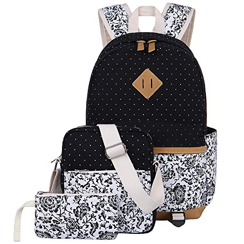 Canvas Backpack School Bags Set for Teens Girls, Casual Daypack + Shoulder  Bag + Pencil Case From BLUBOON 7872cdde2e
