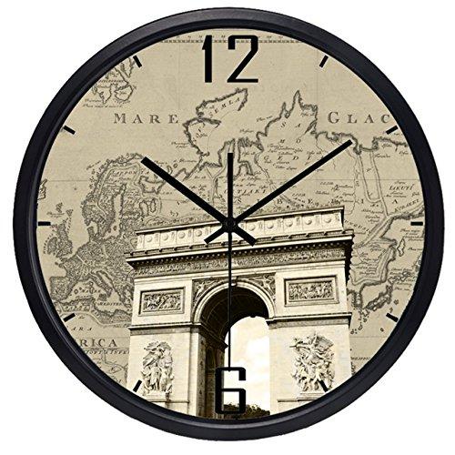 OLILEIO der Welt Zeitzonen Uhr Marke EL Lobby Wecker Welt Sehenswertes Altes Papier Karte Uhr Ultra Quiet High-Gr Quarzuhr, Triumphbogen, China, 14 Zoll (China Zeitzonen)