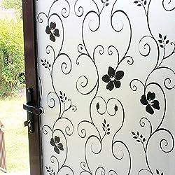 DUOFIRE Film pour Fenêtre Opaque Intimité Film pour Fenêtre Décoratif Film pour Fenêtre Electrostatique Autocollant de Fenêtre (90cm X 200cm, DP014B)