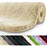 Tapis de bain rond casa pura®   Qualité Premium Oeko Tex   epais, moelleux, absorbant   lavable en machine   plusieurs tailles et couleurs   beige - 95cm de diamètre