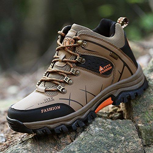 Gomnear Herren Wandern Stiefel High Top Trekking Schuhe Non Slip Breathable Wasserdichte Walking Klettern Sneakers,Khaki-40