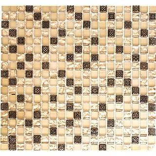 Mosaik Netzwerk Mosaikfliese Quadrat Crystal/Stein/Resin Mix Beige/beige  Matt Glas
