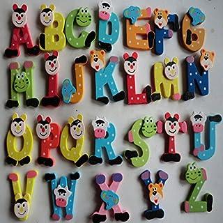 Education Toys,Fortan 26pcs Wooden Cartoon Alphabet A-Z Magnets Child