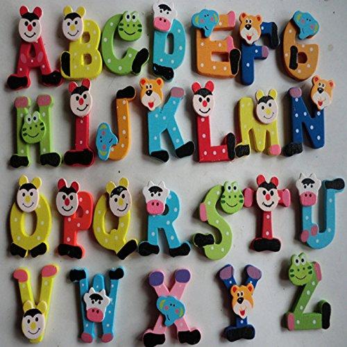 mxjeeio 26pcs Holz Cartoon Alphabet Magnetbuchstaben Worte Holz Cartoon Kühlschrank Magnet für Lernen & Bildung - Kid Baby Pädagogisches Spielzeug - Pädagogisches Alphabet Kühlschrankmagneten (Kühlschrank Spielzeug Kid)