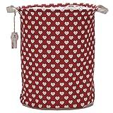 Sea Team-Cesto per biancheria, pieghevole, organizzare cestini decorativi per vestiti e giocattoli per bambini Rosso