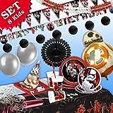 STAR WARS Geburtstag-Deko-Set, 91-teilig zum Kindergeburtstag Junge und STAR WARS-Motto-Party für 8 Darth Vader Fans