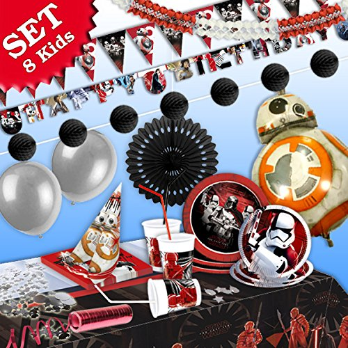 -Deko-Set, 91-teilig zum Kindergeburtstag Junge und STAR WARS-Motto-Party für 8 Darth Vader Fans (Star Wars Geburtstag Dekorationen)