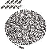 3,2 mm Durchmesser Perlenkette Verlängerung mit Stecker, 10 Fuß Perlen Rollenkette mit 10 passenden Anschlüssen (Silber)