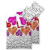 4-tlg. Sommer Bettwäsche Baumwolle 135x200 CelinaTex 6000012 Fashion Mimar weiß bunte Herzen