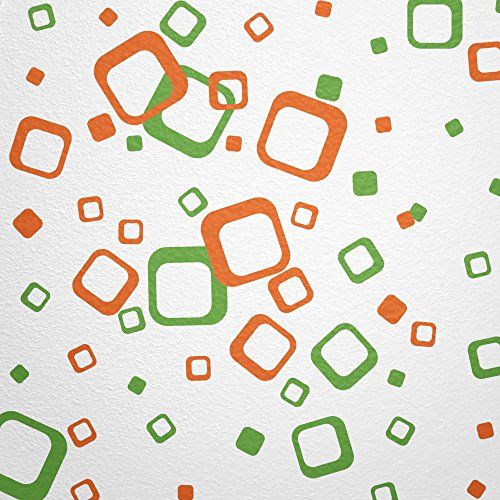 WANDfee® Wandtattoo 60 Vierecke FARBWUNSCH Farbe hellgrün orange zweifarbig bunte moderne Wanddeko selbstklebende retro Cubes Quadrate Wandaufkleber Wandsticker Fliesenaufkleber Dekoration Deko Aufkleber 24 Foto Cube