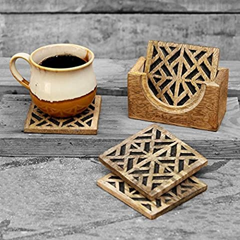 Geometric Themed Set of 4 Wooden Square Drink Coasters for Tea Coffee Cup Beer Mug Wine Glass with Holder Bar Dining Accessory - Bustine Di Tè Nozze