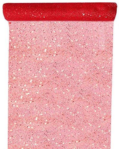SANTEX 4446-7-30, Chemin de table Tulle pailletée, rouge 3016600118080