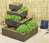 Dalton Bepflanzbarer Solarbrunnen Kaskadenbrunnen in Holz-Optik
