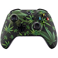 eXtremeRate Green Weeds Patterned Faceplate Front Housing Shell with Soft Touch Grip for Microsoft Xbox One X & One S…