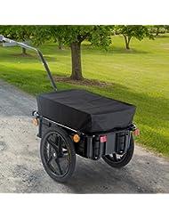 Remolque de Bicicleta para Carga 40kg Equipaje Reflectores y Asas Negro