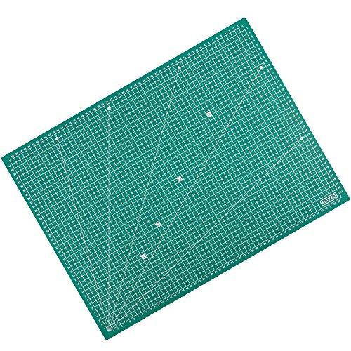 MAXKO Schneidematte A2 (60 x 45 cm), grün, selbstheilend, mit Raster – inklusive 2 Jahre Geld-zurück-Garantie – Schneideunterlage, Cutting Mat, Schnittunterlage für Rollschneider, umweltschonend aus recyceltem PVC - so bleiben Klingen scharf und Arbeitsflächen lange wie neu (Lineal, Cutter)