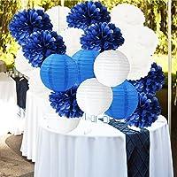 Furuix 18pcs Blanc Bleu marine 10 pouces Tissu Papier Pom Pom Lanternes en papier Forfait mixte pour bleu marine Cadeau thématique Papier de mariage Garland, décoration de douche nuptiale Décoration de douche de bébé