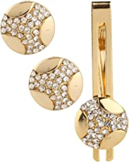 TRIPIN Cufflinks and TIE PIN Set for Men Branded Golden Colour with Diamond Crystal for Office Corporate Wedding Party French Cuff Shirts Shirt Suit Blazer in A Gift Box