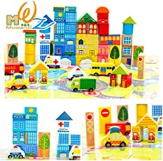 Emob 62 Pcs City Blocks Wooden Puzzle Toys City Blocks Educational Wooden Toy for Toddler