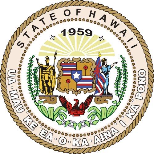 Michael & Rene Pflüger Barmstedt 8 cm - Konturschnitt - Autoaufkleber Hawaii USA Wappen Schild Aufkleber Sticker fürs Auto Motorrad Handy Laptop