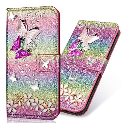 Soft Slim Modisch Glitzer Ledertasche für Samsung A20e,Bling Glitter Diamond Love Hearts Musterg Stand Funktion Bookstyle Karteneinschub Magnetverschluss Flip Wallet Hülle Schutzhülle Handy-cover Rainbow Glitter