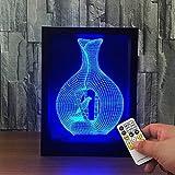 Käfigvogel 3D Bilderrahmen Lampe Optische LED Täuschung Nachtlicht,Yunplus 7 Farbwech Acryl Flat USB Ladegerät ändern Berühren Sie Botton Schreibtisch lampe Tischleuchte
