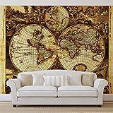 Weltkarte Vintage - Forwall - Fototapete - Tapete - Fotomural - Mural Wandbild - (571WM) - XXXL - 416cm x 254cm - VLIES (EasyInstall) - 4 Pieces