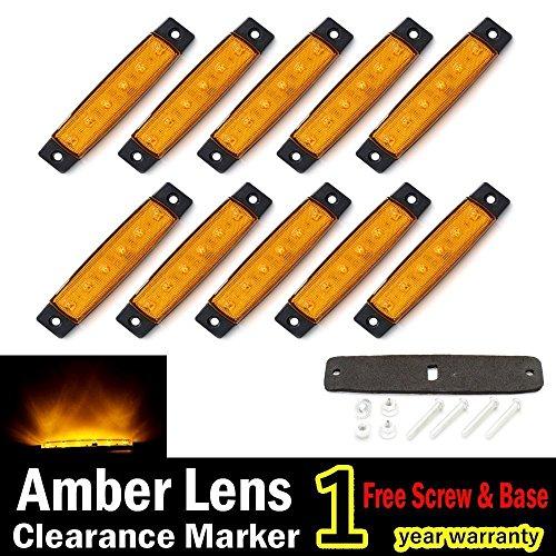 """10pcs 3,8""""6LED ámbar LED Side Marker, remolque luces, camiones, marcador luz de marcador lateral Luces, trasera, remolque LED luces de gálibo, RV"""