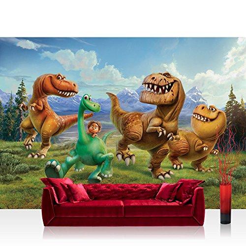 Papel Pintado Fotográfico Premium Plus fotográfico pintado–cuadro de pared–Papel pintado Disney Arlo & Spot dinosaurios dibujos animados Niños Verde–No. 2794, verde, Fototapete 368x254cm | PREMIUM Blue Back