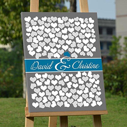 Registro degli ospiti personalizzabile per matrimonio, idea alternativa, tela con 150cuori
