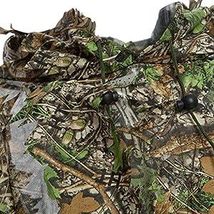 SODIAL Cape en Feuille 3D Camo Poncho D'Observation d'oiseaux Camouflage de Type Poncho Ouvert Respirant de Yowie Ghillie Costume de Sniper