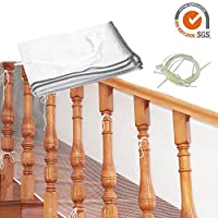 Ecisi Kids Safety Railnet For Indoor Balconies And Outdoor Decks,Baby Safety Stairs Rail Net,Child Safety Net,Baby Proofing Stair Balcony Banister Railing Guard 10